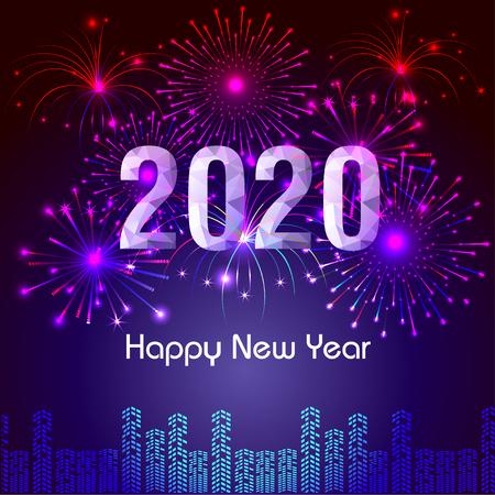 Sfondo di felice anno nuovo 2020 con fuochi d'artificio.