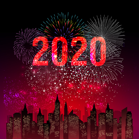 Happy New Year 2020 background with fireworks.