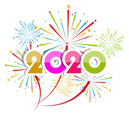 Sfondo di felice anno nuovo 2020 con fuochi d'artificio. Vettoriali