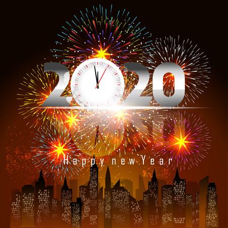 Fond de bonne année 2020 avec feux d'artifice.
