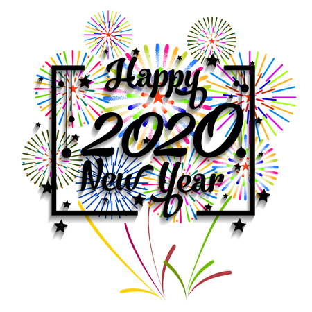 Happy New Year 2020 background with fireworks. Stock Vector - 112383884