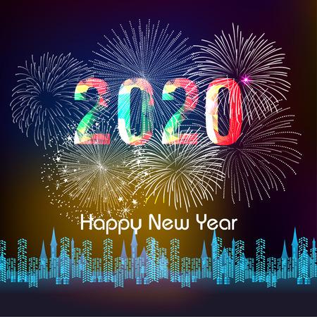 Szczęśliwego nowego roku 2020 tło z fajerwerkami.