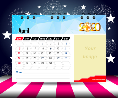 april 2020 Calendar for new year