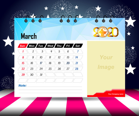 march 2020 Calendar for new year