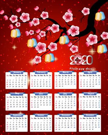 2020 Calendar for new year Ilustração Vetorial