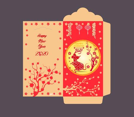 Chinese New Year red envelope flat icon, year of the rat 2020 Vektorgrafik