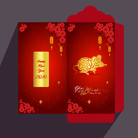 Chinese New Year red envelope flat icon, year of the rat 2020