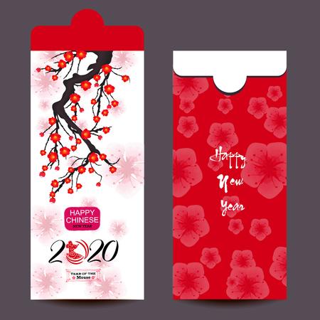Chinesisches Neujahr rotes Umschlagsymbol flach, Jahr der Ratte 2020 Vektorgrafik
