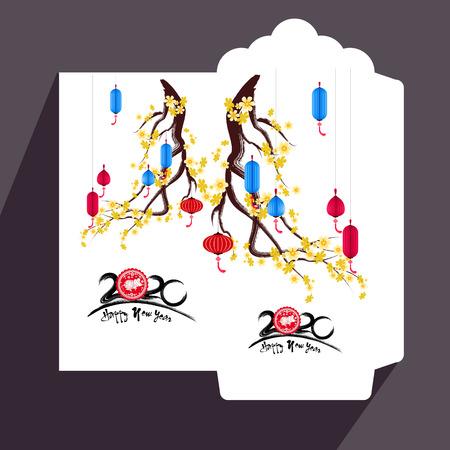 Chinesisches Neujahr rotes Umschlagsymbol flach, Jahr der Ratte 2020