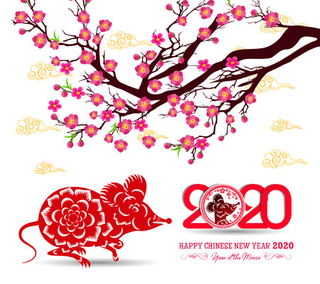 Happy New Chinese Year 2020 year of the Rat - year of the mouse 일러스트