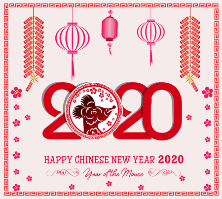 Happy New Chinese Year 2020 year of the Rat - year of the mouse 向量圖像