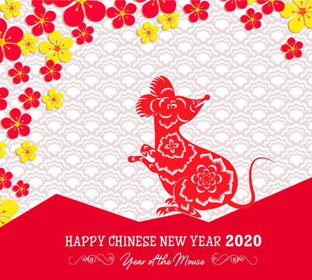 Happy New Chinese Year 2020 year of the Rat - year of the mouse Vectores
