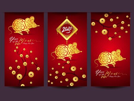 Happy New Chinese Year 2020 year of the Rat - year of the mouse Standard-Bild