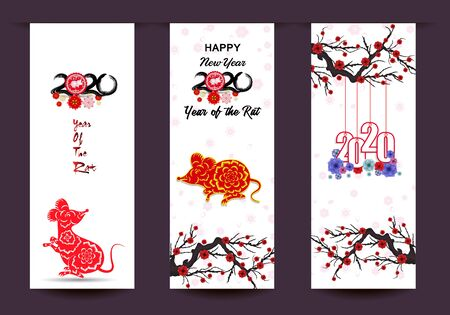Happy New Chinese Year 2020 year of the Rat year of the mouse Vektorgrafik