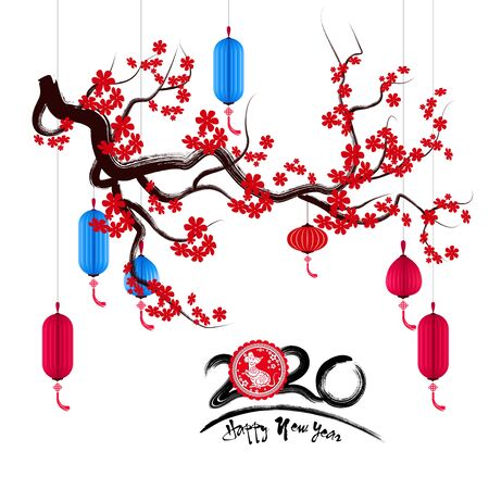 Happy New Chinese Year 2020 year of the Rat year of the mouse Vettoriali