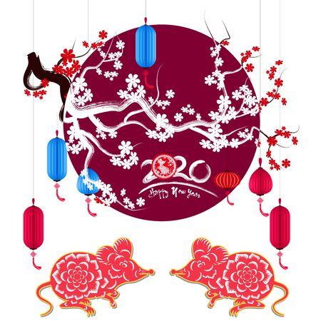 Happy New Chinese Year 2020 year of the Rat year of the mouse Illustration