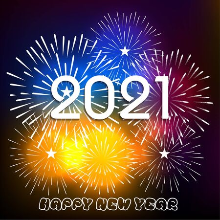 Happy new year 2021 with firework background. Firework display colorful for holidays. Çizim