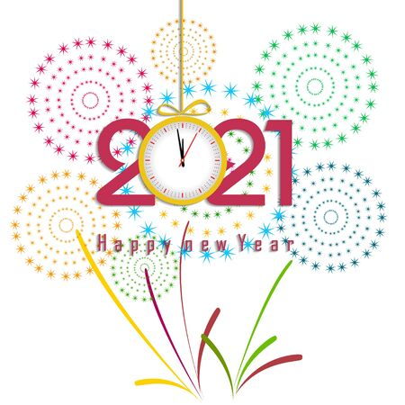 Happy new year 2021 with firework background. Firework display colorful for holidays. 矢量图像