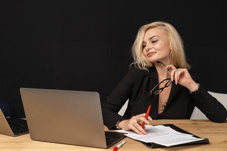 Business lady beautiful blonde woman intelligent managing director