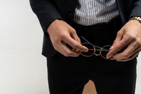 Close up of a confident elegant man in suit