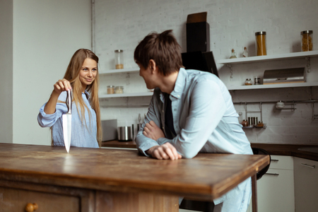 Happy young couple have fun in modern kitchen indoor Stok Fotoğraf - 118630743