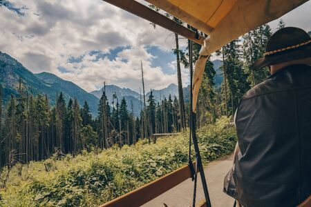 Morskie Oko, Poland, 05072019 Beautiful amazing view from the cart, mountains and pine forest