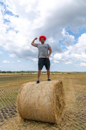 Starker junger Mann in roter Perücke steht auf dem runden Heuhaufen im Feld und zeigt seinen Bizeps Standard-Bild