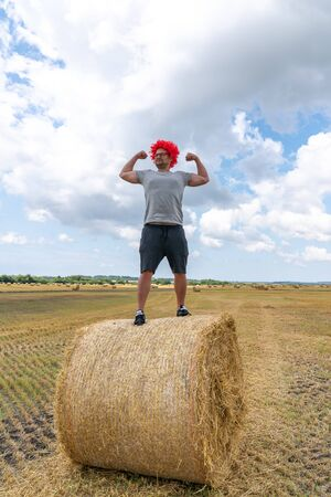 Strong young man in red wig stands on the round haystack among the field and shows his biceps