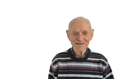 Close up portrait of an old male, man in casual clothes, senior smiles and shows his mouth without teeth, isolated over white background, copyspace for your text