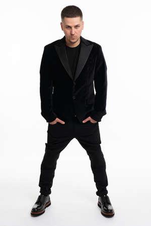 Elegant young handsome man. Studio fashion portrait Standard-Bild