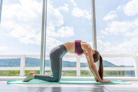 Young beautiful woman practicing yoga with mountain view in the background. Wellness concept