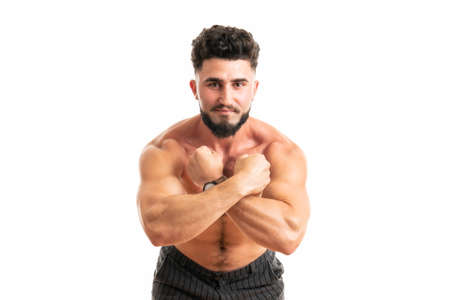 Sporty man with perfect body after training isolated on white background. Strength and motivation Standard-Bild - 152631368