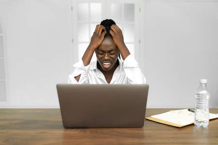 Frustrated despondent african american woman office worker getting fired from job concept