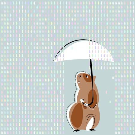 Guinea pig with ubmbrella in the rain. Vector illustration Stock Vector - 43578430