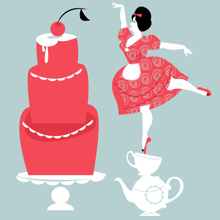 plump: Plump woman decorating cake. Vector illustration Illustration