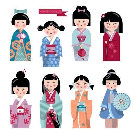 fortune cat: Traditional japanese doll. Kokeshi dolls. Vector illustration