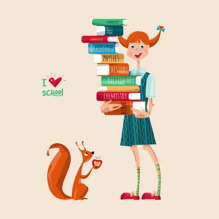 Girl with a stack of books. I love school. Vector illustration
