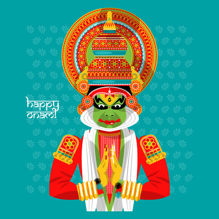 onam: Decorated Indian Kathakali dancer. Happy Onam. Vector illustration
