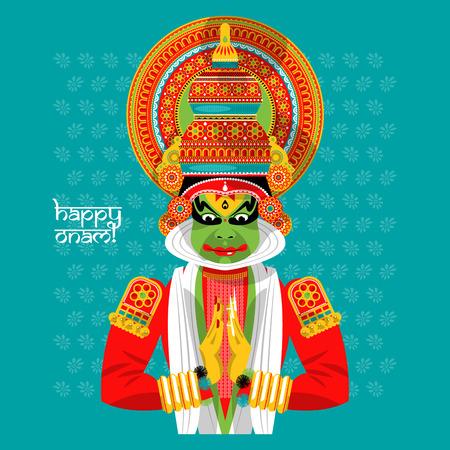 malayalam: Decorated Indian Kathakali dancer. Happy Onam. Vector illustration