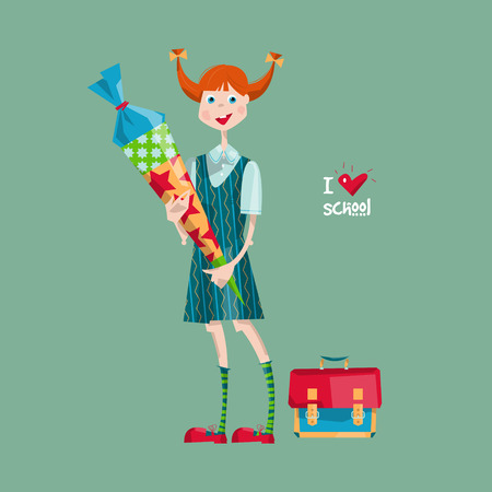 knapsack: Schoolgirl with a Schultuete cone. German tradition. I love school. Vector illustration