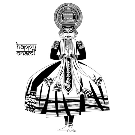 indian culture: Decorated Indian Kathakali dancer. Happy Onam. Black and white. Vector illustration