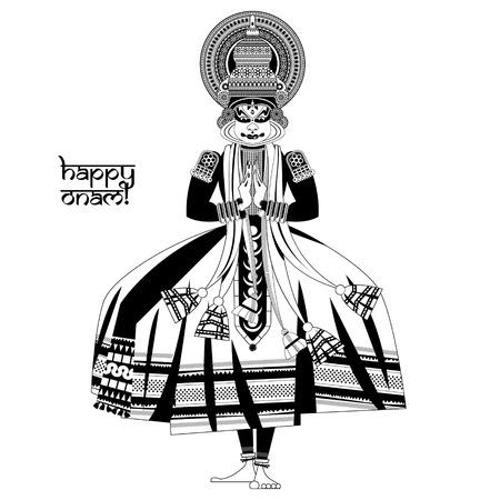 malayalam: Decorated Indian Kathakali dancer. Happy Onam. Black and white. Vector illustration
