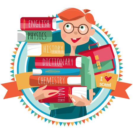 niño escuela: Muchacho con una pila de libros. Me encanta el colegio. Ilustración vectorial