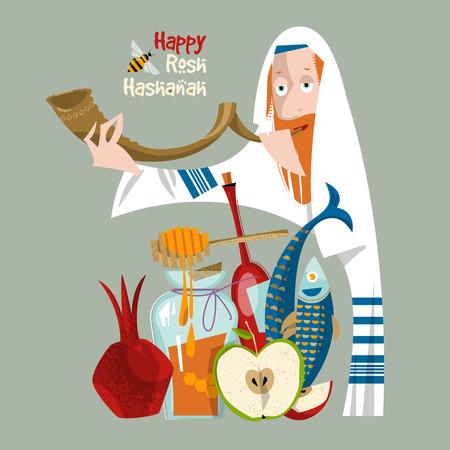 幸せな新年祭。ユダヤ人の新年。正統派ユダヤ人の男は、ショファルを保持しています。ザクロ、リンゴ、蜂蜜、魚、ワイン。ベクトル図