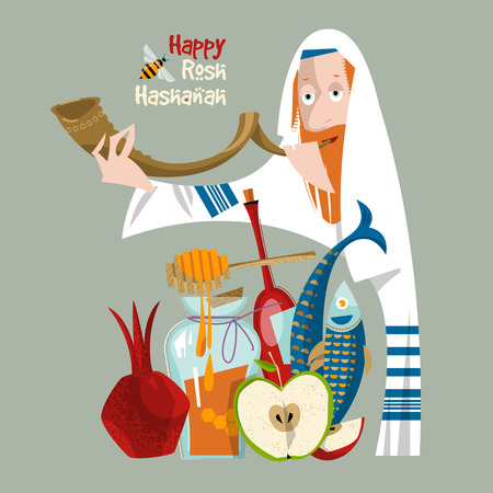 hebrew: Happy Rosh Hashanah. Jewish New Year. Orthodox jewish man holds shofar. Pomegranate, apple, honey, fish, wine. Vector illustration Illustration
