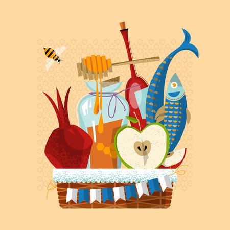 manzana: Feliz Rosh Hashaná. Año Nuevo judío. Cesta festiva: granada, manzana, miel, pescado, botella de vino. Ilustración vectorial