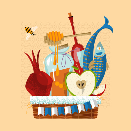 Happy Rosh Hashanah. Jewish New Year. Festive basket: pomegranate, apple, honey, fish, bottle of wine. Vector illustration