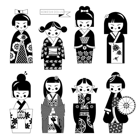 fortune cat: Traditional japanese doll. Kokeshi dolls. Black and white. Vector illustration