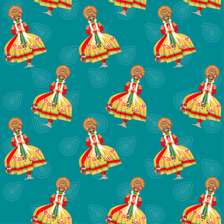 onam: Decorated Indian Kathakali dancer. Happy Onam. Seamless background pattern. Vector illustration Illustration
