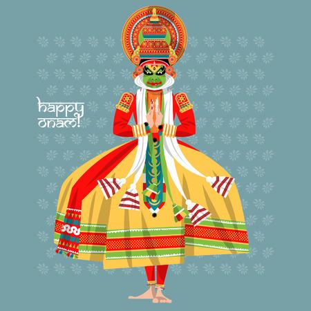 malayalam: Decorated Indian Kathakali dancer. Happy Onam. Vector illustration.